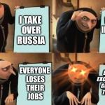 Stalin: From Communism to Fascism | I TAKE OVER RUSSIA I START INDUSTRY BOOM EVERYONE LOSES THEIR JOBS EVERYONE EXCEPT FOR THE GOV'T LOSES THEIR JOBS | image tagged in grus plan evil,historical meme,history,joseph stalin,communism | made w/ Imgflip meme maker