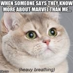 Heavy Breathing Cat Meme | WHEN SOMEONE SAYS THEY KNOW MORE ABOUT MARVEL THAN ME... | image tagged in memes,heavy breathing cat | made w/ Imgflip meme maker
