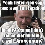 Tracy is as stumped by Facebook technology as Douglie is... | Yeah, listen, you say I have a wall on Facebook? Really? 'Cause I don't remember building a wall...Are you sure? | image tagged in tracy,facebook,facebook cut and paste,facebook wall,technology,douglie | made w/ Imgflip meme maker