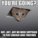 Ceiling Cat Meme | YOU'RE GOING? BUT...BUT...BUT WE WERE SUPPOSED TO PLAY LINCOLN LOGS TOGETHER | image tagged in memes,ceiling cat | made w/ Imgflip meme maker