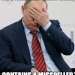Putin Facepalm | THE LOOK YOU MAKE WHEN AN OTHERWISE GREAT MEME CONTAINS A MISSPELLED WORD | image tagged in putin facepalm | made w/ Imgflip meme maker