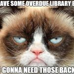 Grumpy Cat Not Amused Meme | YOU HAVE SOME OVERDUE LIBRARY BOOKS WE'RE GONNA NEED THOSE BACK NOW | image tagged in memes,grumpy cat not amused,grumpy cat | made w/ Imgflip meme maker