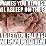 Scumbag Brain Meme | MAKES YOU ALMOST FALL ASLEEP ON THE BUS WONT LET YOU FALL ASLEEP WHEN YOU GET HOME | image tagged in memes,scumbag brain | made w/ Imgflip meme maker