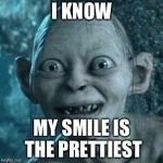 Gollum Meme | I KNOW MY SMILE IS THE PRETTIEST | image tagged in memes,gollum | made w/ Imgflip meme maker