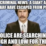 In Criminal News... | IN CRIMINAL NEWS: A GIANT AND A DWARF HAVE ESCAPED FROM PRISON POLICE ARE SEARCHING HIGH AND LOW FOR THEM | image tagged in memes,ron burgundy,crime,breaking news,anchorman news update | made w/ Imgflip meme maker