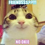 Smiling Cat Meme | FRIENDSSS??!!! NO OKIE | image tagged in memes,smiling cat | made w/ Imgflip meme maker