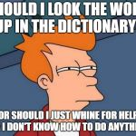 Futurama Fry Meme | SHOULD I LOOK THE WORD UP IN THE DICTIONARY? OR SHOULD I JUST WHINE FOR HELP LIKE I DON'T KNOW HOW TO DO ANYTHING? | image tagged in memes,futurama fry | made w/ Imgflip meme maker