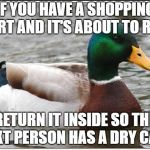 Actual Advice Mallard Meme | IF YOU HAVE A SHOPPING CART AND IT'S ABOUT TO RAIN RETURN IT INSIDE SO THE NEXT PERSON HAS A DRY CART | image tagged in memes,actual advice mallard | made w/ Imgflip meme maker