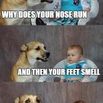 Dad Joke Dog Meme | WHY DOES YOUR NOSE RUN AND THEN YOUR FEET SMELL | image tagged in memes,dad joke dog | made w/ Imgflip meme maker