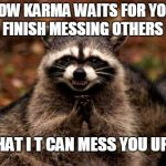 Evil Plotting Raccoon Meme | HOW KARMA WAITS FOR YOU TO FINISH MESSING OTHERS UP SO THAT I T CAN MESS YOU UP TOO maxwell95 | image tagged in memes,evil plotting raccoon | made w/ Imgflip meme maker