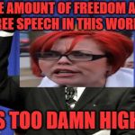 Too Damn Feminist | THE AMOUNT OF FREEDOM AND FREE SPEECH IN THIS WORLD, IS TOO DAMN HIGH! | image tagged in memes,too damn high,freedom,feminist,triggered | made w/ Imgflip meme maker