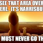 MUFASA AND SIMBA | SEE THAT AREA OVER THERE.  IT'S HARRISBURG. YOU MUST NEVER GO THERE | image tagged in mufasa and simba | made w/ Imgflip meme maker
