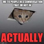 Interrupting Cat | *ME TO PEOPLE IN A CONVERSATION THAT IM NOT IN* ACTUALLY | image tagged in memes,ceiling cat,interuption,cat,oh wow are you actually reading these tags,technically correct man | made w/ Imgflip meme maker