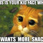 Shrek Cat Meme | THIS IS YOUR KID FACE WHEN HE WANTS  MORE  SNACKS | image tagged in memes,shrek cat | made w/ Imgflip meme maker