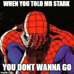 Sad Spiderman Meme | WHEN YOU TOLD MR STARK YOU DONT WANNA GO | image tagged in memes,sad spiderman,spiderman | made w/ Imgflip meme maker