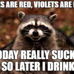 Evil Plotting Raccoon Meme | ROSES ARE RED, VIOLETS ARE PINK. TODAY REALLY SUCKS, SO LATER I DRINK | image tagged in memes,evil plotting raccoon,random | made w/ Imgflip meme maker