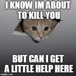 Ceiling Cat Meme | I KNOW IM ABOUT TO KILL YOU BUT CAN I GET A LITTLE HELP HERE | image tagged in memes,ceiling cat | made w/ Imgflip meme maker