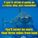 Bad Shark Pun  | If you're afraid of going on a cruise ship, just remember; . . . straight down You'll never be more than three miles from land | image tagged in bad shark pun | made w/ Imgflip meme maker
