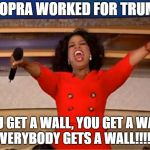 Oprah You Get A Meme | IF OPRA WORKED FOR TRUMP YOU GET A WALL, YOU GET A WALL, EVERYBODY GETS A WALL!!!!!! | image tagged in memes,oprah you get a | made w/ Imgflip meme maker