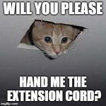 Ceiling Cat Meme | WILL YOU PLEASE HAND ME THE EXTENSION CORD? | image tagged in memes,ceiling cat | made w/ Imgflip meme maker