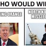 Who Would Win? Meme | ANNOYING ORANGE NORTH KOREAN MISSLE MAN | image tagged in memes,who would win | made w/ Imgflip meme maker