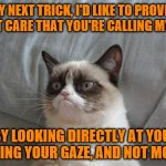I wouldn't necessarily call it a trick, Grumpy. ~Inspired by Nopa~ | FOR MY NEXT TRICK, I'D LIKE TO PROVE THAT I DON'T CARE THAT YOU'RE CALLING MY NAME BY LOOKING DIRECTLY AT YOU, HOLDING YOUR GAZE, AND NOT MO | image tagged in memes,grumpy cat bed,grumpy cat,lazy,stubborn | made w/ Imgflip meme maker