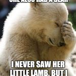 Facepalm Bear Meme | MARY HAD A LITTLE LAMB. SHE ALSO HAD A BEAR I NEVER SAW HER LITTLE LAMB. BUT I OFTEN SAW HER BARE. | image tagged in memes,facepalm bear | made w/ Imgflip meme maker