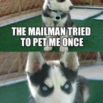 Insanity Puppy Meme | THE MAILMAN TRIED TO PET ME ONCE ONCE | image tagged in memes,insanity puppy | made w/ Imgflip meme maker