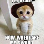 Cute Cat | I'M  READY NOW  WHERE ARE MY  SWORD | image tagged in cute cat,puss in boots | made w/ Imgflip meme maker