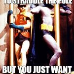 The dynamic duo straddling | WHEN YOU'RE TOLD TO STRADDLE THE POLE BUT YOU JUST WANT TO SAVE THE WORLD | image tagged in batman pole,save the world,pole,robin,batman | made w/ Imgflip meme maker