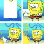 Spongebob Burning Paper meme