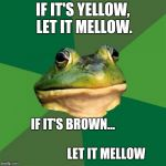 Frog week June 3-10, a JBmemegeek and giveuahint event! | IF IT'S YELLOW, LET IT MELLOW. IF IT'S BROWN...                                                       LET IT MELLOW | image tagged in memes,foul bachelor frog,front page,dank memes,raydog,best | made w/ Imgflip meme maker
