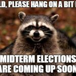 Evil Plotting Raccoon Meme | WORLD, PLEASE HANG ON A BIT MORE MIDTERM ELECTIONS ARE COMING UP SOON! | image tagged in memes,evil plotting raccoon | made w/ Imgflip meme maker