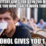 Lazy College Senior Meme | THE LOTTERY GIVES YOU A 1 IN 200 MILLION CHANCE YOU WON'T GO TO WORK TOMORROW ALCOHOL GIVES YOU 1 IN 5 | image tagged in lazy college senior,alcohol,lottery,beer,go to work,going to work | made w/ Imgflip meme maker