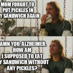 First World Stoner Problems Meme | MOM FORGOT TO PUT PICKLES IN MY SANDWICH AGAIN DAMN YOU, ALZHEIMER. HOW AM I SUPPOSED TO EAT MY SANDWICH WITHOUT ANY PICKLES? | image tagged in memes,first world stoner problems | made w/ Imgflip meme maker