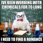 Chemistry Cat Meme | IVE BEEN WORKING WITH CHEMICALS FOR TO LONG I NEED TO FIND A ROMANCE | image tagged in memes,chemistry cat | made w/ Imgflip meme maker