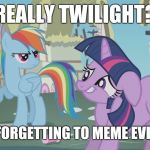 Yep! That is me! | REALLY TWILIGHT? YOU'RE FORGETTING TO MEME EVERYDAY? | image tagged in really twilight,memes,xanderbrony | made w/ Imgflip meme maker