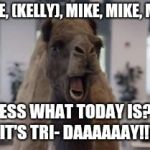 Hump Day Camel | MIKE, (KELLY), MIKE, MIKE, MIKE GUESS WHAT TODAY IS?!?! IT'S TRI- DAAAAAAY!!! | image tagged in hump day camel | made w/ Imgflip meme maker