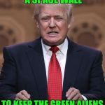 The Green Aliens are the worst...they steal our cattle and probe our red necks.. bringing disease and drugs.  Just bad dudes. | WE NEED TO BUILD A SPACE WALL TO KEEP THE GREEN ALIENS OUTTA OUR COUNTRY | image tagged in donald trump,aliens week,trump aliens,build a wall | made w/ Imgflip meme maker