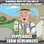 Yeah... | REMEMBER WHEN PUTTING KIDS IN A CAGE WAS WRONG AND WASN'T A DEBATE? PEPPERIDGE FARM REMEMBERS | image tagged in memes,pepperidge farm remembers,politics | made w/ Imgflip meme maker