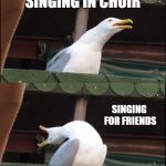 Me singing for different audiences  | SINGING IN PUBLIC SINGING IN CHOIR SINGING FOR FRIENDS SINGING ALONE | image tagged in memes,inhaling seagull,singing,choir,friends | made w/ Imgflip meme maker