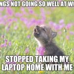 Baby Insanity Wolf Meme | THINGS NOT GOING SO WELL AT WORK STOPPED TAKING MY LAPTOP HOME WITH ME | image tagged in memes,baby insanity wolf,AdviceAnimals | made w/ Imgflip meme maker