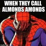 Sad Spiderman Meme | WHEN THEY CALL ALMONDS AMONDS | image tagged in memes,sad spiderman,spiderman | made w/ Imgflip meme maker