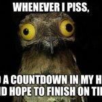 Weird Stuff I Do Potoo Meme | WHENEVER I PISS, I DO A COUNTDOWN IN MY HEAD AND HOPE TO FINISH ON TIME. | image tagged in memes,weird stuff i do potoo | made w/ Imgflip meme maker