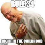 Right In The Childhood Meme | RULE 34 RIGHT IN THE CHILDHOOD | image tagged in memes,right in the childhood,rule 34,the golden rule,childhood,childhood ruined | made w/ Imgflip meme maker