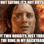 Its Finally Over Meme | I'M NOT SAYING IT'S HOT OUTSIDE, BUT TWO HOBBITS JUST THREW THE RING IN MY BACKYARD | image tagged in memes,its finally over | made w/ Imgflip meme maker