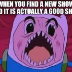 Finn The Human Meme | WHEN YOU FIND A NEW SHOW AND IT IS ACTUALLY A GOOD SHOW | image tagged in memes,finn the human | made w/ Imgflip meme maker