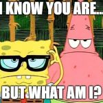 Badass Spongebob and Patrick | I KNOW YOU ARE... BUT WHAT AM I? | image tagged in badass spongebob and patrick | made w/ Imgflip meme maker