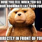 TED Meme | HOW YOU FEEL WHEN YOU SEE YOUR ROOMMATE EAT YOUR FOOD DIRECTLY IN FRONT OF YOU | image tagged in memes,ted | made w/ Imgflip meme maker