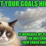 Never the optimist. | SET YOUR GOALS HIGH IT INCREASES MY PLEASURE FOR WATCHING THEM CRASH AND BURN | image tagged in memes,grumpy cat sky,grumpy cat,goals | made w/ Imgflip meme maker